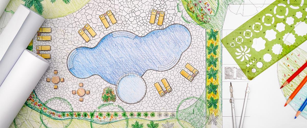 Gezeichneter Plan eines Poolbau im Garten.